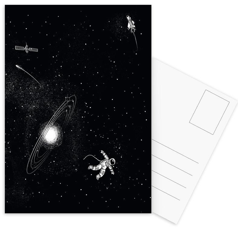 Astronauten, Schwarz & Weiß, Kinderzimmer & Kunst für Kinder, Gravity 3.0 -Postkartenset
