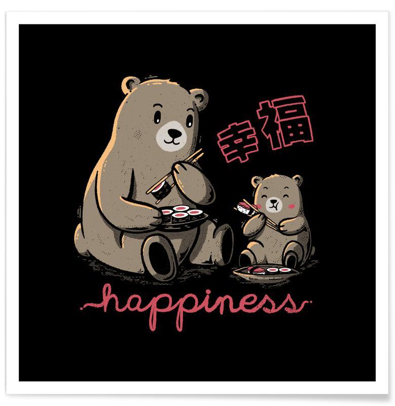 Ours, Art pour enfants, Happiness Sushi affiche