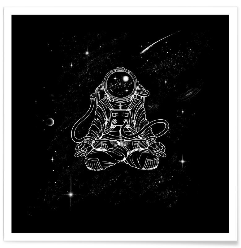 Black & White, Astronauts, Zen Astronaut Poster