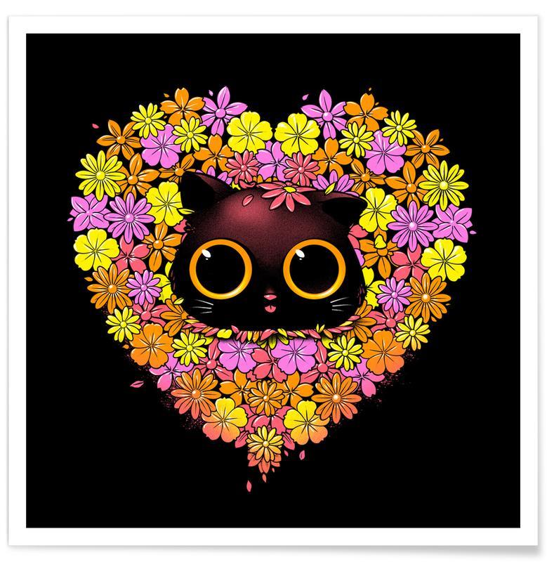 Cœurs, Chats, Spring Cat Lover affiche