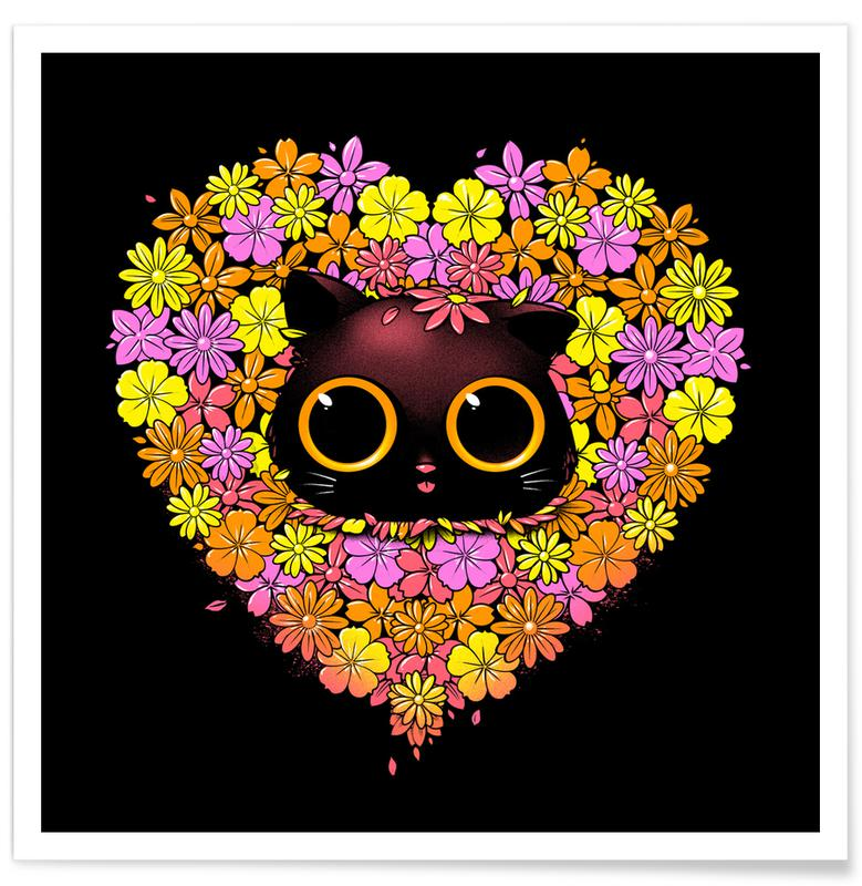Hearts, Cats, Spring Cat Lover Poster