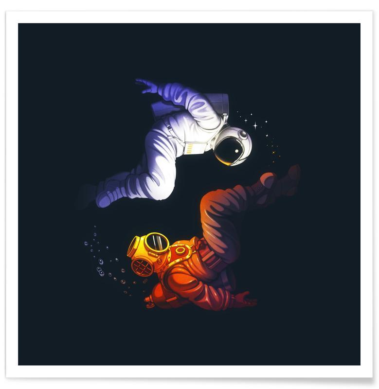 Crânes, Astronautes, Yin Yang Astronaut Scuba affiche