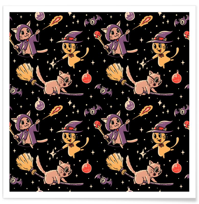 Cats, Funny, Pattern Magic Cats Poster
