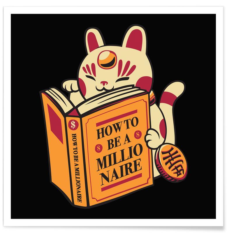 Humour, Chats, Maneki Neko How To Be A Millionaire affiche
