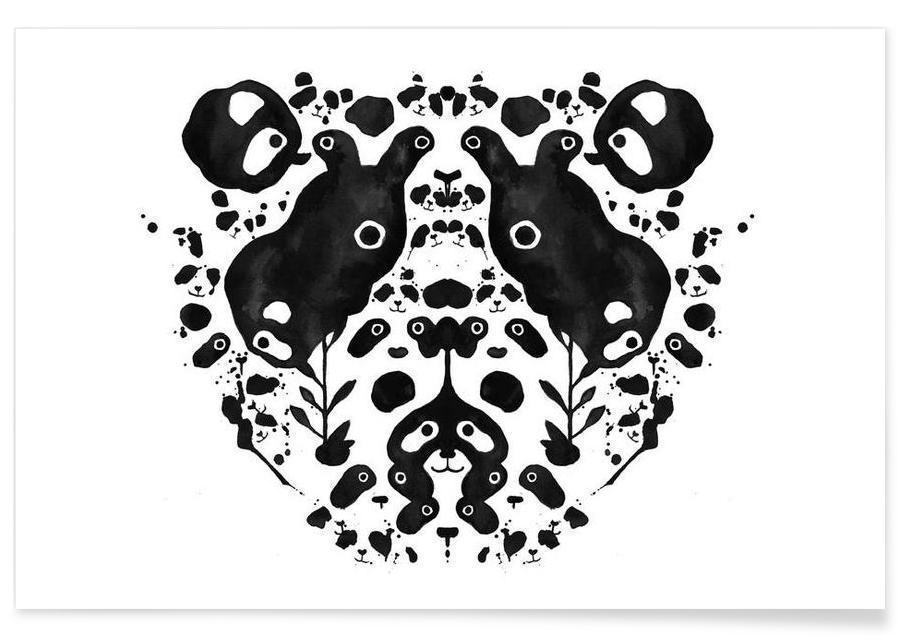Noir & blanc, Pandas, Bamboo Forest affiche
