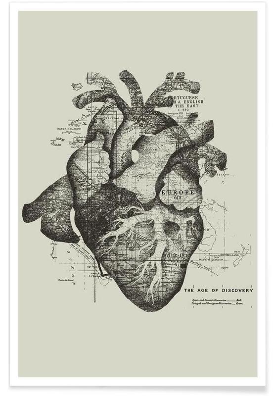 Black & White, Retro, Restless heart Poster