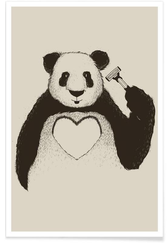 Hearts, Pandas, Panda Love Poster