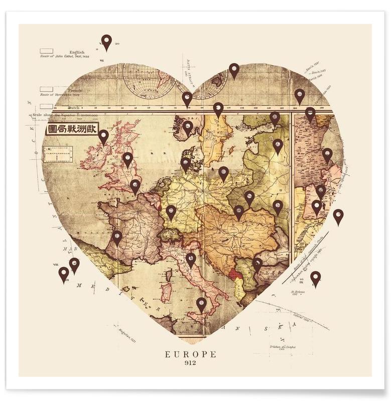 Hearts, Retro, Travel, Love To Travel Poster