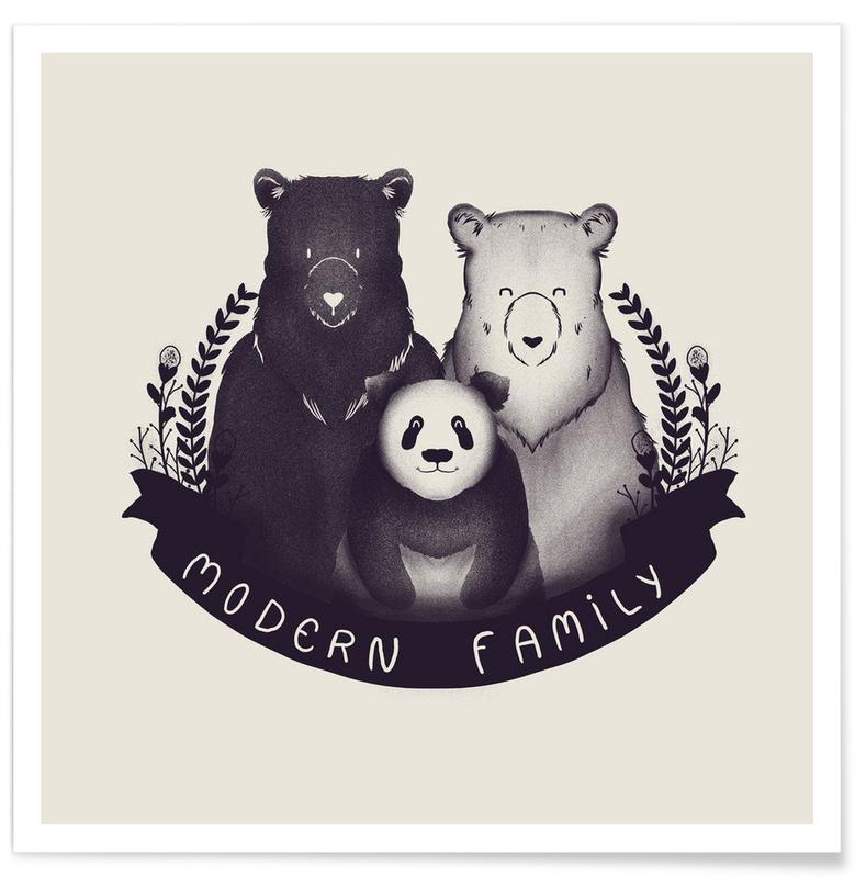 Naissances, Ours, Humour, Noir & blanc, Modern family affiche