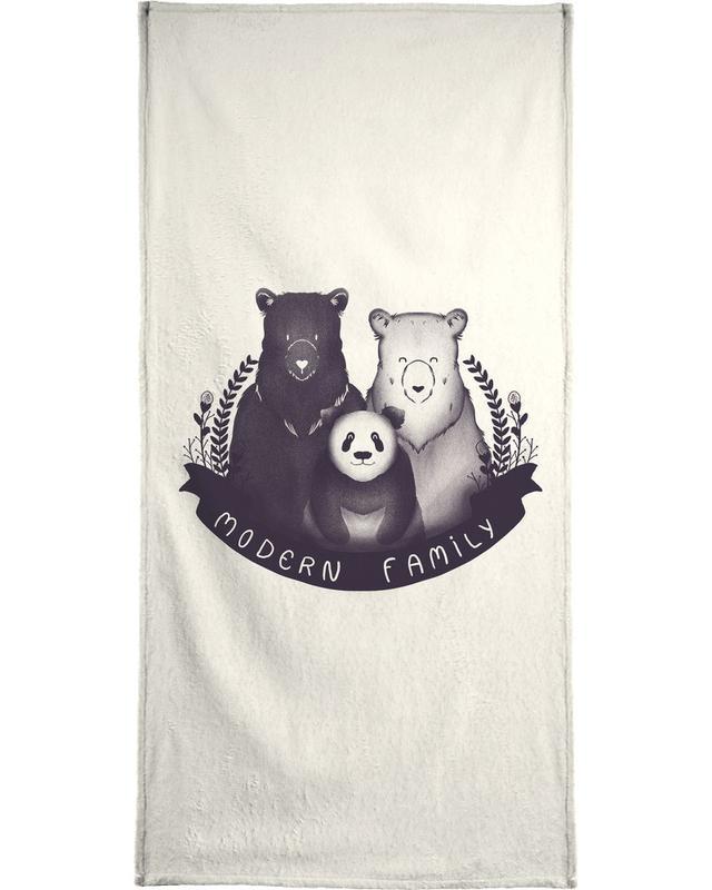Zwart en wit, Grappig, Beren, Pasgeborenen, Modern family handdoek