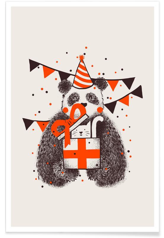 Art pour enfants, Anniversaires, Pandas, Happy Birthday affiche
