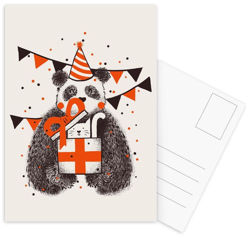 Geburtstage, Kinderzimmer & Kunst für Kinder, Pandas, Happy Birthday -Postkartenset