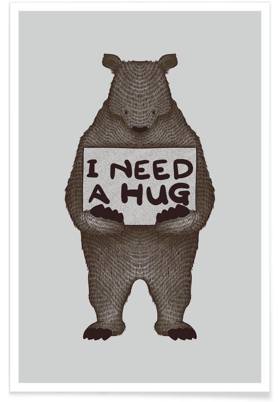 Nursery & Art for Kids, Bears, I Need a Hug Poster