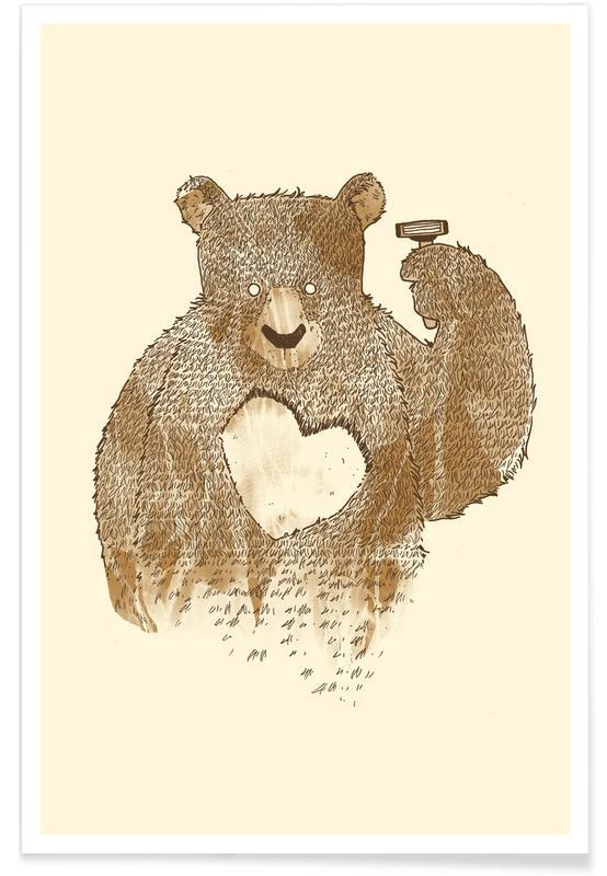 Art pour enfants, Ours, Saint-Valentin, I'd Shave for You affiche