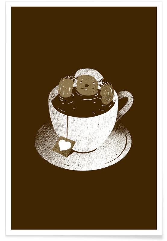 Kaffee, Monday Bath Sloth Coffee -Poster