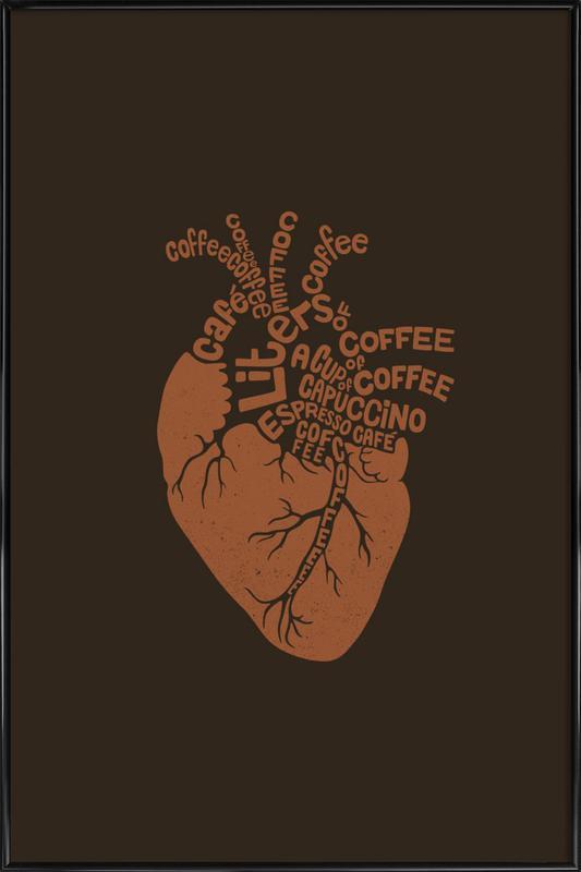 Coffee Lover Heart Framed Poster