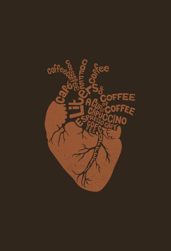 Coffee Lover Heart Aluminium Print