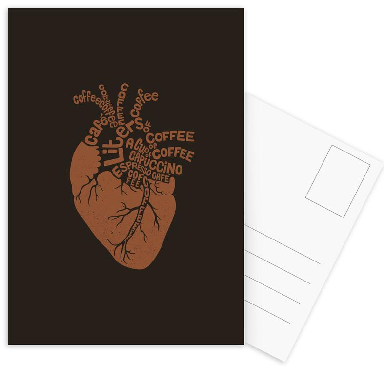 Coffee Lover Heart -Postkartenset