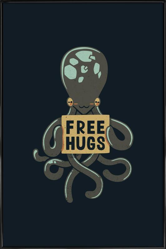 Free Hugs Octopus -Bild mit Kunststoffrahmen