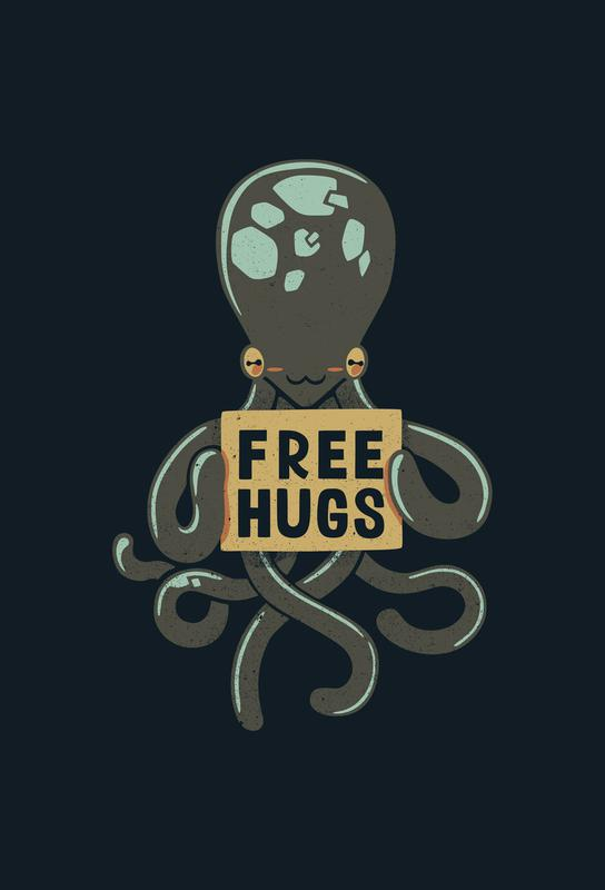 Free Hugs Octopus Aluminium Print