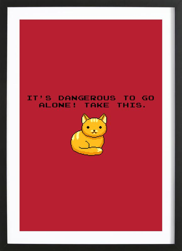 Its Dangerous To Go Alone Take This Cat Framed Print