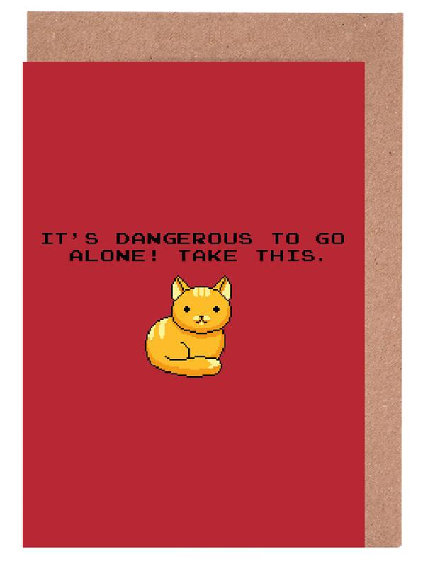 Its Dangerous To Go Alone Take This Cat Greeting Card Set
