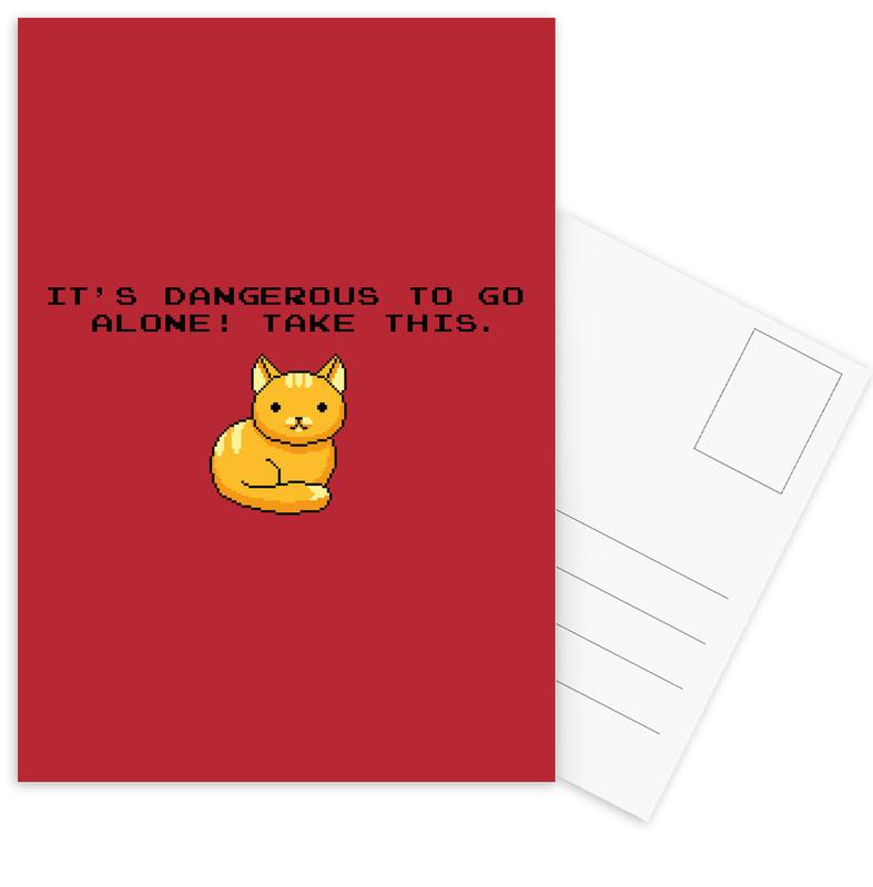Its Dangerous To Go Alone Take This Cat Postcard Set
