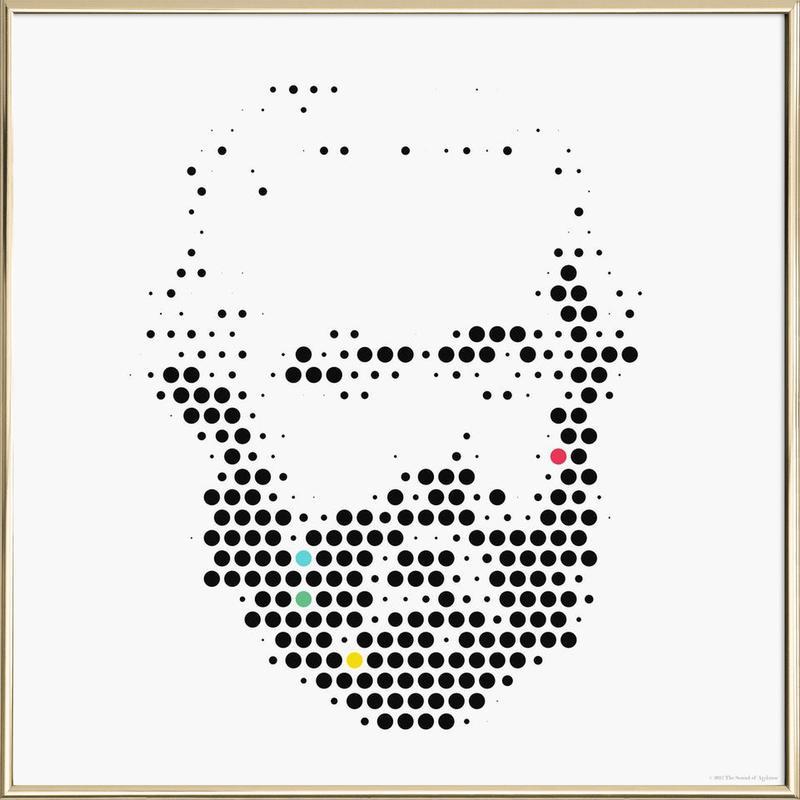 Karl Marx in Dots Poster in Aluminium Frame
