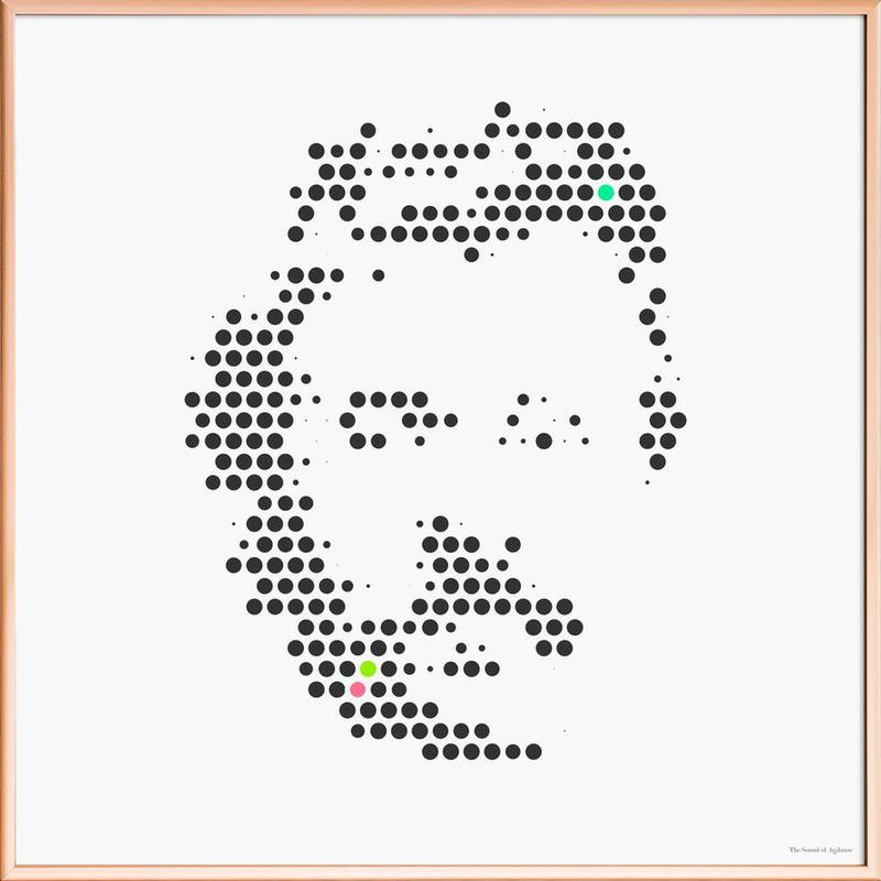 Friedrich Nietzsche in Dots Poster in Aluminium Frame