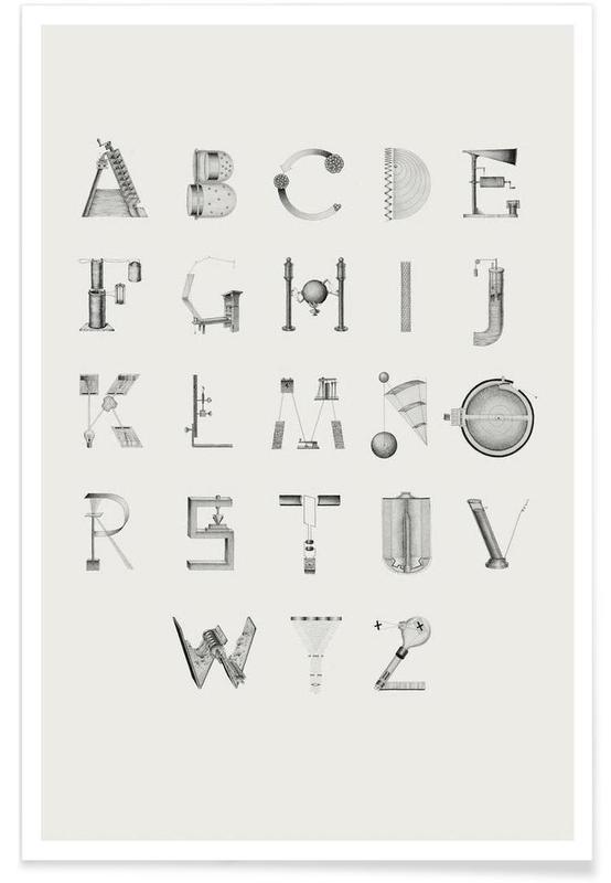 Alphabet et lettres, Noir & blanc, Science letters affiche