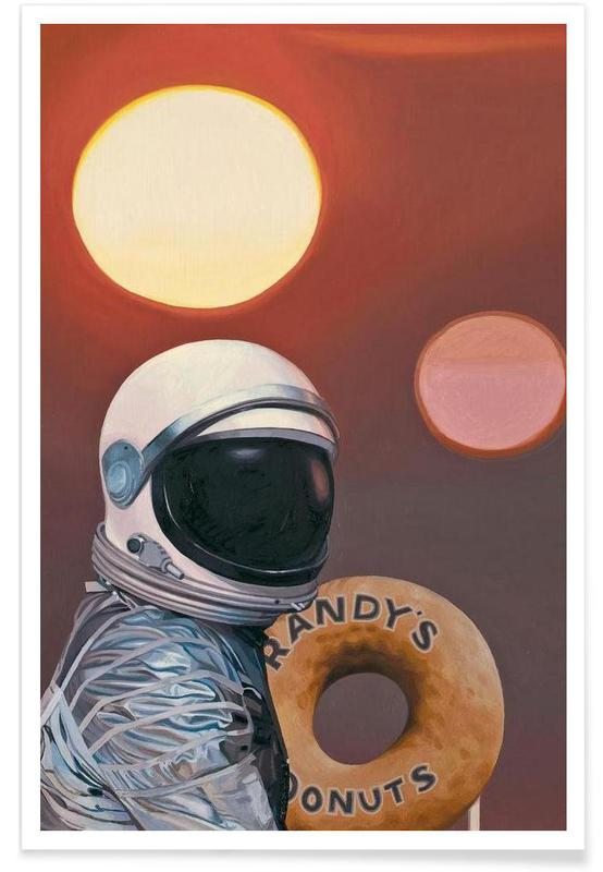 Astronauts, Twin Suns And Donuts Poster