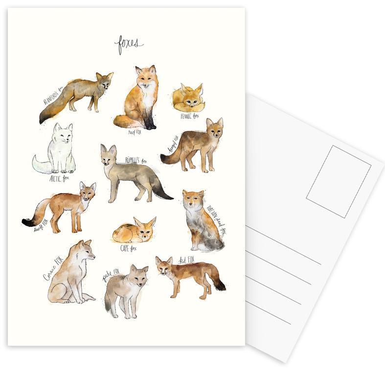 Renards, Art pour enfants, Foxes cartes postales