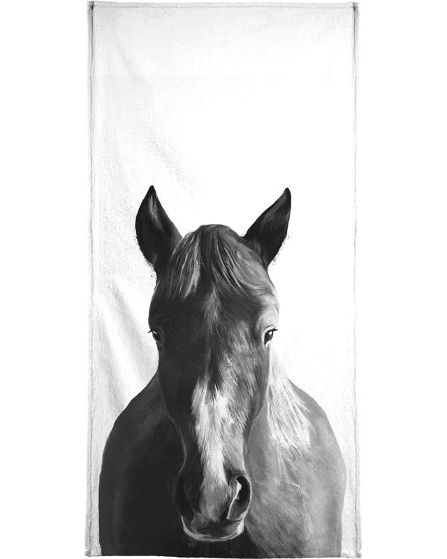 Chevaux, Noir & blanc, Art pour enfants, Horse serviette de plage