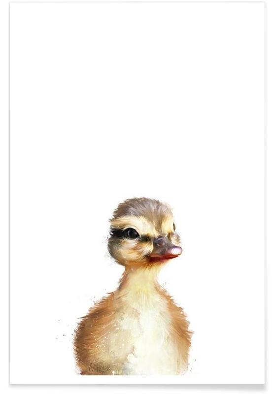 Art pour enfants, Canards, Illustration de petit canard affiche