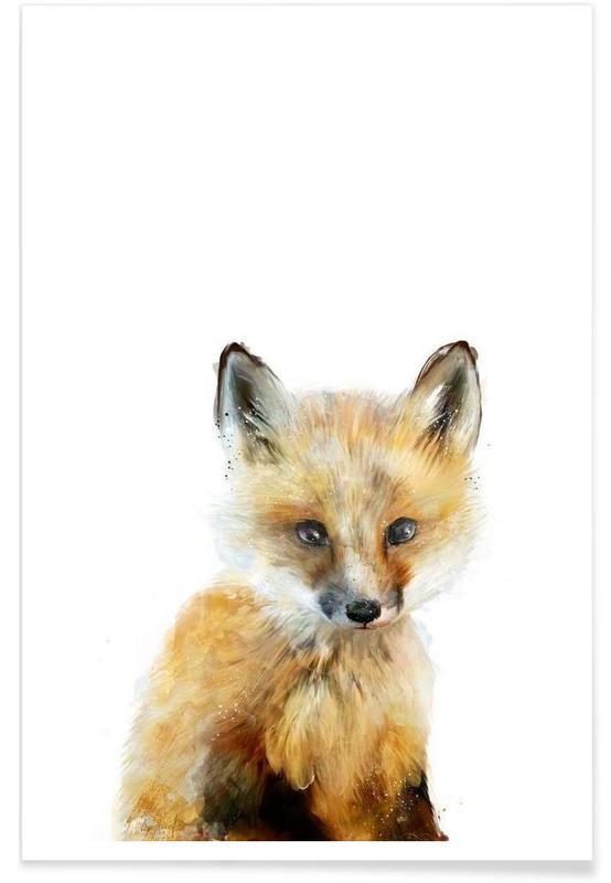 Renards, Art pour enfants, Illustration de petit renard affiche