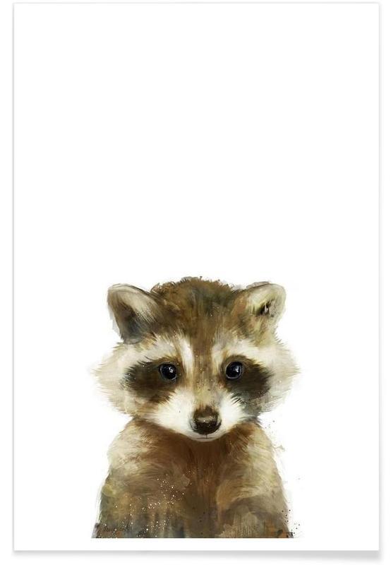 Børneværelse & kunst for børn, Little Raccoon Illustration Plakat