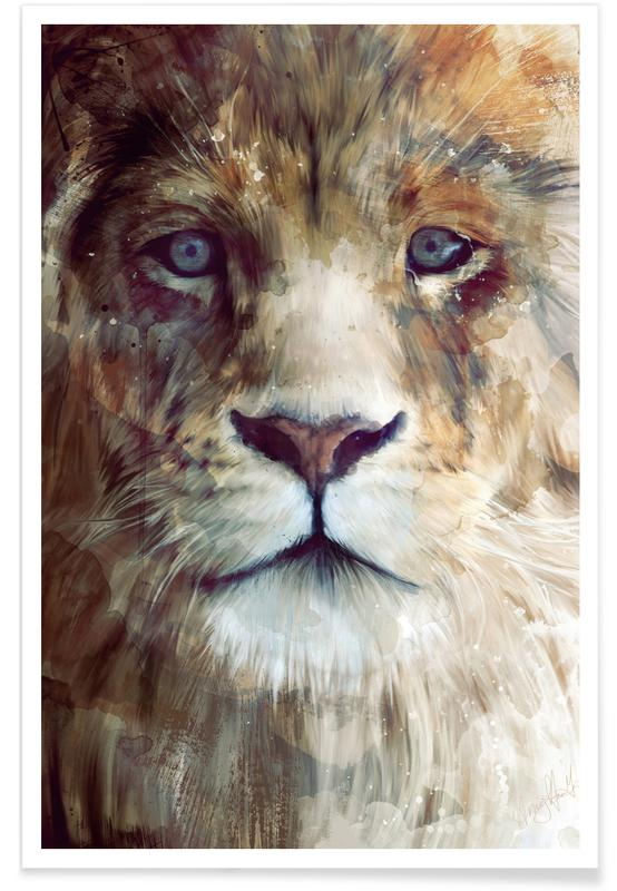 Lions, Lion Face Illustration Poster