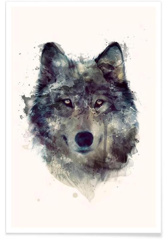 Loups, Illustration de loup affiche