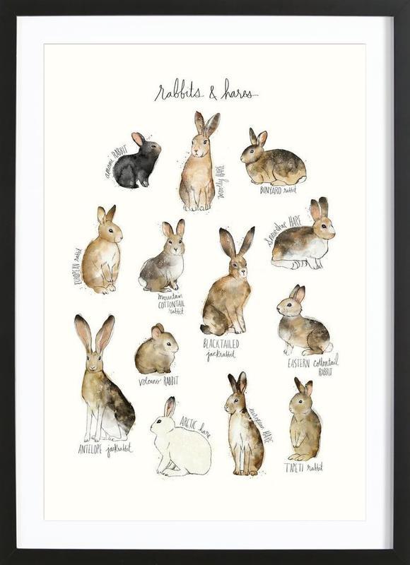 Rabbits and Hares affiche sous cadre en bois