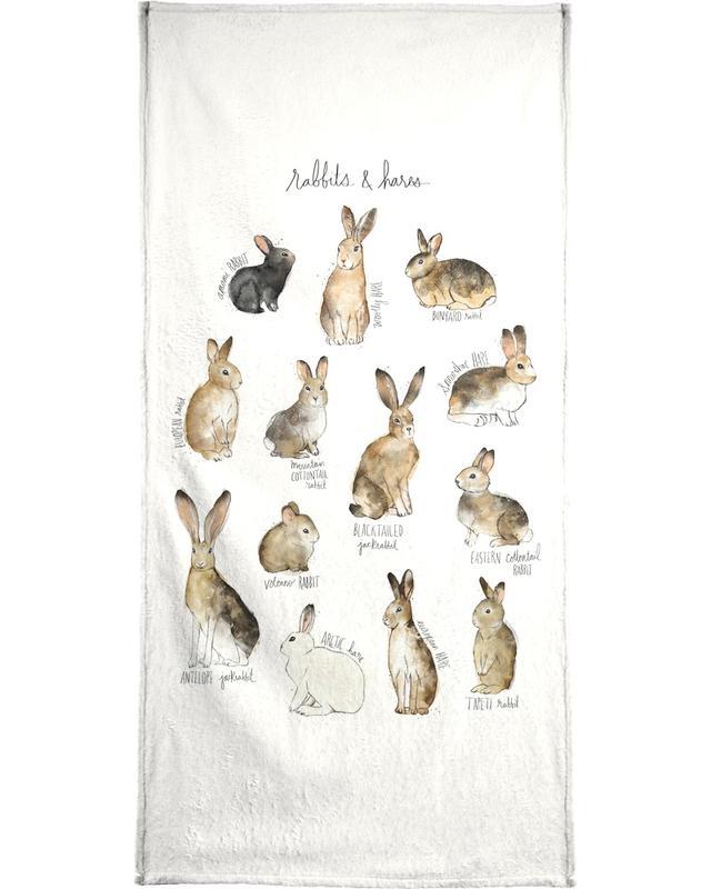 Lapins, Art pour enfants, Rabbits and Hares serviette de bain
