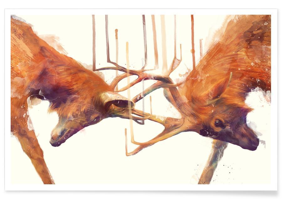 Illustration de combat de cerfs affiche