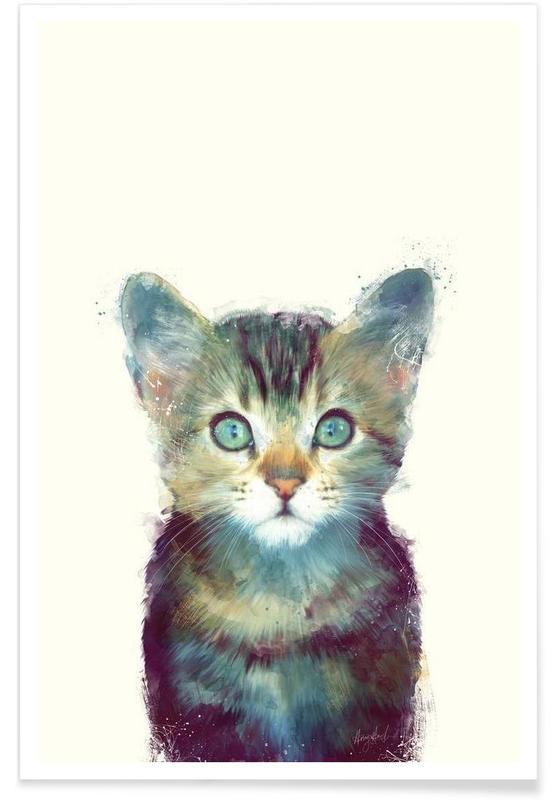 Katzen, Kinderzimmer & Kunst für Kinder, Fliegende Vögel-Illustration -Poster