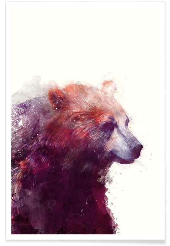 Ours, Illustration d'ours de profil affiche