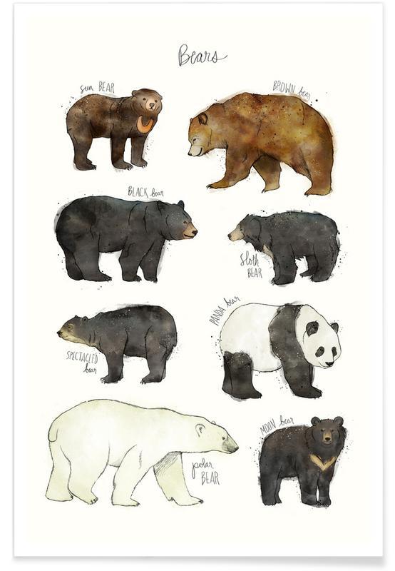 Bjørne, Børneværelse & kunst for børn, Bears Illustration Plakat