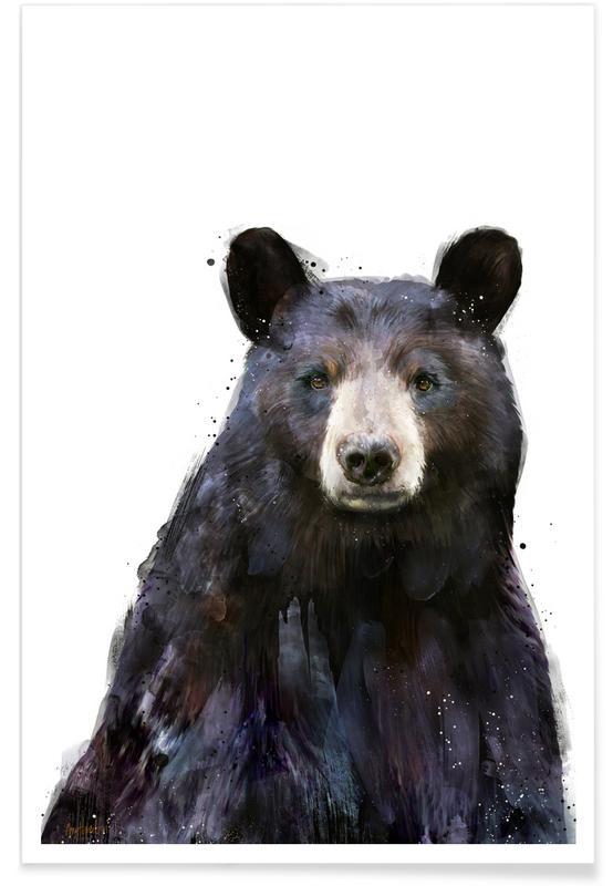 Black Bear Illustration Poster