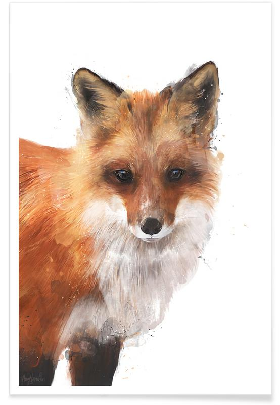 Renards, Art pour enfants, Illustration de renard roux affiche