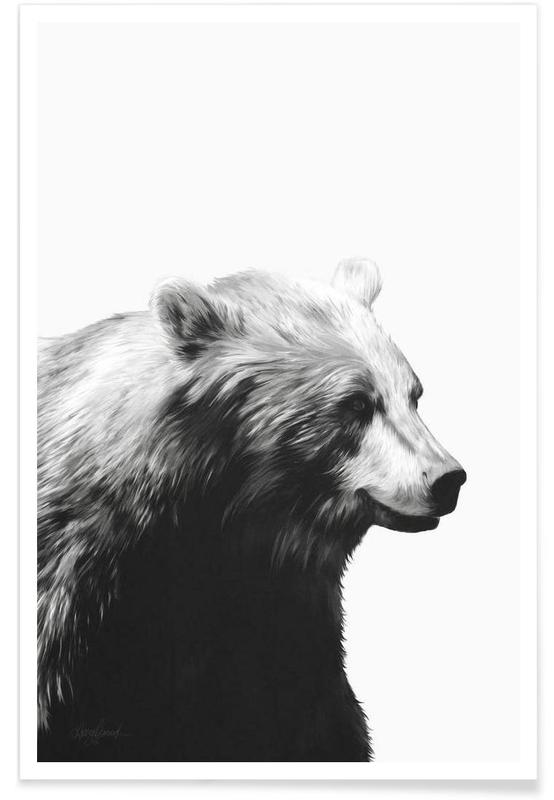 Beren, Zwart en wit, Zwart berenprofiel illustratie poster