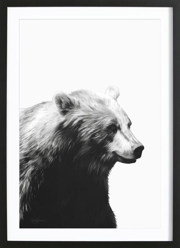 Calm Black and White affiche sous cadre en bois