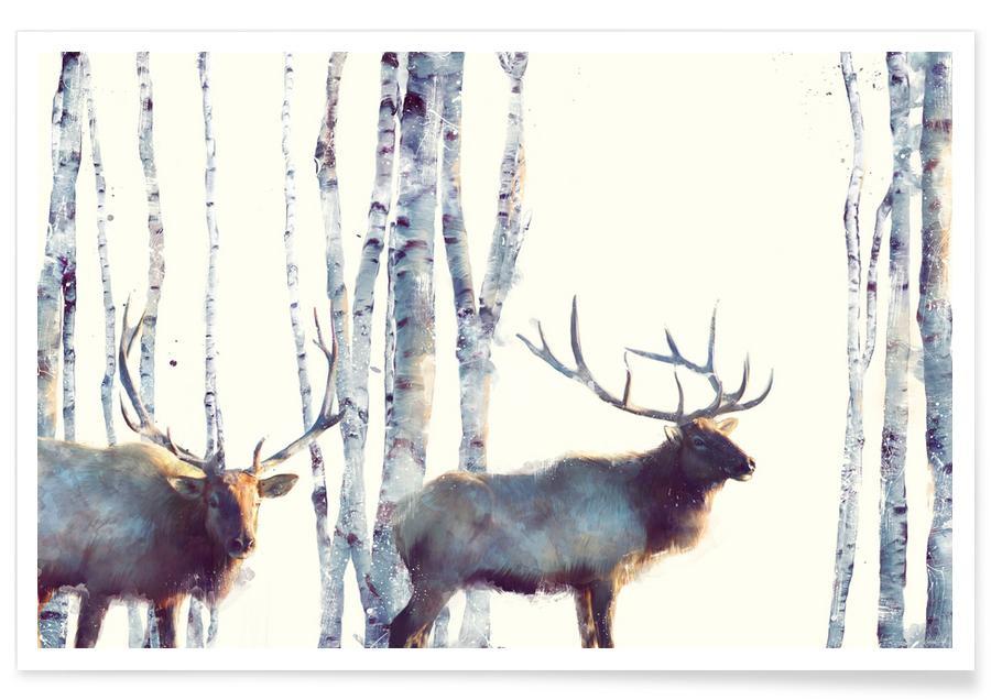 Deer, Nursery & Art for Kids, Moose Illustration Poster