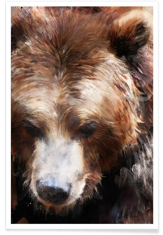 Bären, Kinderzimmer & Kunst für Kinder, Braunbär-Illustration -Poster